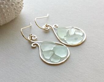 Aqua Sea Glass Earrings, Beach Glass Hoops, Resin Hoop Earrings, Paisley Hoops, Hawaiian Sea Glass:  Ready to Ship