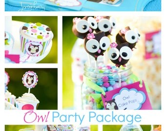 Owl Party Package / Owl Birthday Invitation / Owl Invitation / Owl Party / Owl Printables / 1st Birthday