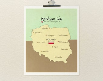 Baby Shower Gift, Wall Art Decor, Typography Print, Polish Map, Poland Map, Charts and Maps, Travel Theme Nursery, Digital Print, Art Poster