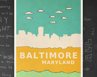 Baltimore Maryland // Modern Nursery Art Decor, City Poster, Typographic Print, Giclee, Travel Theme, Digital, Skyline, Modern Loft
