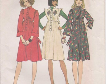 Vintage Dress Pattern Jumper Dress With Ties 1975 Size 12 Uncut Simplicity 7217