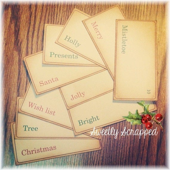 Christmas Flash Cards, Word Card, Variety, Vintage Look, Red and Green, Embellishment, Decoration
