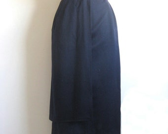 Vintage 1980s Wool Skirt Laurel Navy Blue Wool Straight Skirt 10