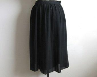 Vintage 1980s Chiffon Skirt Black Pleated Knee Length Skirt 9