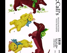 """McCall's 1810 Cute BETSY McCall's Dog and Kitten Toy Vint 1950s Stuffed Animal Fabric Sewing Pattern Nosy 15"""" Kitten 11"""" Reproduction / Copy"""