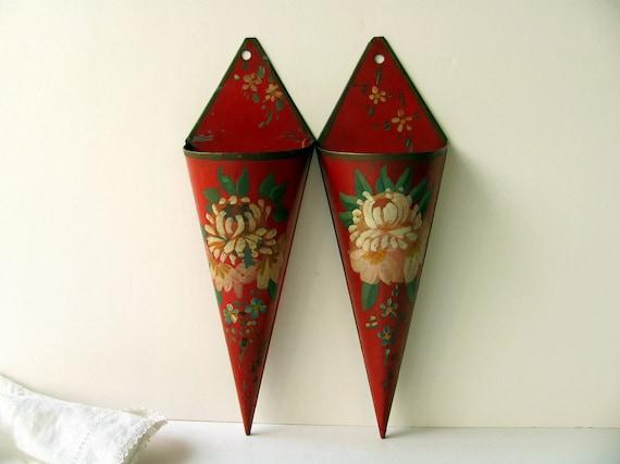 Vintage Wall Pocket Sconces Metal Hanging Vase Flower Holder
