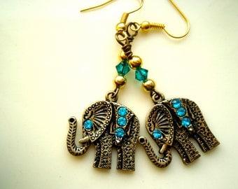 Elephant Earrings - Brass with Teal Swarovski Crystal Earrings, Brass Earrings, Crystal Earrings
