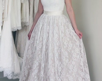 Chantilly Lace and Tulle Skirt, A-line Wedding Skirt, Removable Skirt, Long Lace Skirt