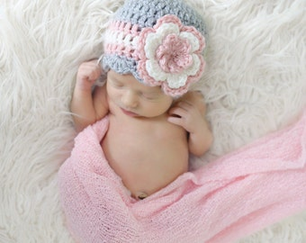 Crochet Baby Hat / Newborn Girl Hat / Girls Beanie / Crochet Girls Hat / Baby Shower Gift Girl / Girls Winter Hat / Toddler Girl Hat