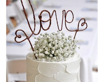 Rustic LOVE Wedding Cake Topper, Rustic Wedding Cake Decoration, Wedding Centerpiece, Bridal Shower, Engagement Party,Anniversary Decoration