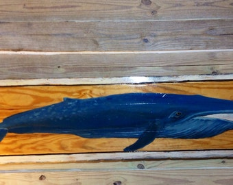 Blue Whale with white washed distressed Frame 6ft. Vintage look Beach home decor Todd lynd original painting reclaimed wood centerpiece art