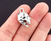 2 Skull Charms Antique Silver Tone 3D with Moving Jaw - SC4117