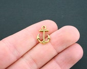 15 Anchor Charms Antique Gold Tone 2 Sided Charms- GC444