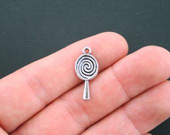 8 Candy Charms Antique Silver Tone Lollipop Charms - SC4265