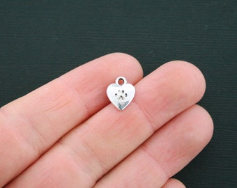 10 Dog Paw Heart Charms Antique Silver Tone 2 Sided Dog Charm- SC1244