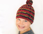 Cable Striped Hand Knit  Hat - Beanie with Pom Pom