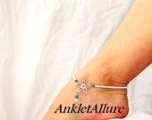 Beach Proof Stainless Steel Flower Anklet Aqua Blue Crystal White Silver Ankle Bracelet