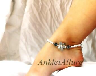 Flower Feet Flower Anklet Ocean Blue White Beach Ankle Bracelet Beach Jewelry