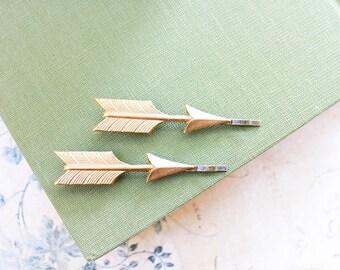 Arrow Bobby Pins Bohemian Hair Accessories Tribal Hair Pins Pair of Golden Arrows Gold Chevron Modern Clips
