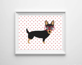 Modern Nursery Dog Kids Room Art Print Pink Hearts