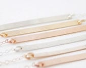 Skinny Horizontal Bar Layering Necklace - Smooth or Hammered Bar, Sterling Silver, 14k Gold Filled, Rose Gold, Minimalist, Gifts For Her