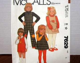 VINTAGE UNCUT OOP McCall's 7629 Sewing Pattern Children's Jumper Jumpsuit and Applique Transfer Size 5