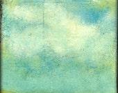 """Sky Print: """"Sky & Field"""" Mixed Media Art, Sky Art, Field Art, Aqua, Teal, Turquoise, Blue-green, 5x5 (127mm), 8x8 (203mm) or 12x12 (305mm)"""
