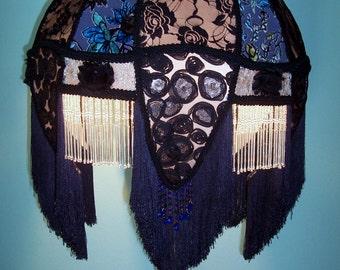 SALE! - Victorian Lampshade Large Black Lace Blue/Green Cut Velvet Glass Bugle Beaded Fringe