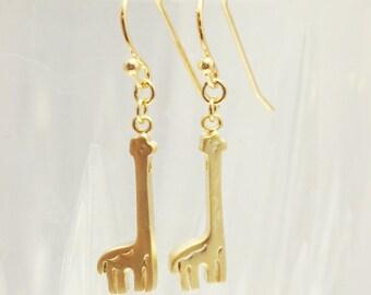 Gold Giraffe Earrings - cute miniature giraffe silhouette  charm jewelry - simply everyday trendy jewelry
