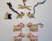 Cracker Jack Toy Dogs 1940's Vintage Celluloid Plastic