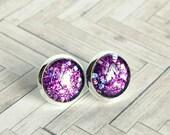 serious moonlight purple sparkle post earrings, silver plated, stud, glitter, faux plug, stocking stuffer, cabochon earrings