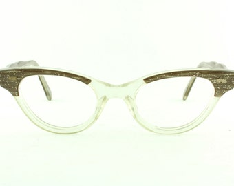 Vintage Deadstock 60's Acetate Combo Cat Eye Rust Eyeglass Frames USA  - Free Domestic Shipping
