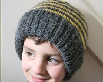 Bumblebee Stripe : Child's Slouchy Hat. Hand-knit Chunky.