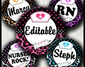 INSTANT DOWNLOAD Editable JPG Leopard Nurses Rock (305) 4x6 Bottle Cap Images Digital Collage Sheet  bottlecaps hair bows bottlecap images