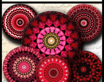 INSTANT DOWNLOAD Red Mandalas (708) 4x6 and 8.5x11 ( 30mm ) Digital Collage Sheet glass tiles cabochon pendants images