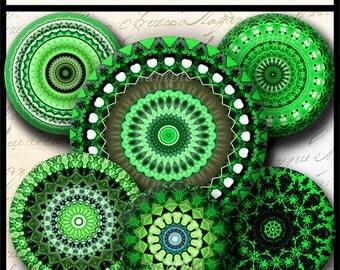 INSTANT DOWNLOAD Green Mandalas (714) 4x6 Bottle Cap Images Digital Collage Sheet for bottlecaps glass tiles hair bows  bottlecap images
