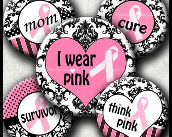 INSTANT DOWNLOAD Damask Breast Cancer Pink Ribbon (030) 4x6 Bottle Cap Images Digital Collage Sheet bottlecaps hair bows bottlecap images