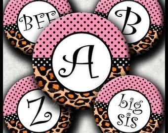 INSTANT DOWNLOAD Pink Leopard Alphabet (029) 4x6 Digital Collage Sheet Bottle Cap Images bottlecaps glass tiles hair bows bottlecap images