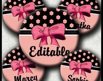 INSTANT DOWNLOAD Editable JPG Girly Bows (296) 4x6 Bottle Cap Images Digital Collage Sheet for bottlecaps hair bows .. bottlecap images