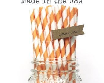 Orange paper Straws, 100 Orange Straws, Wedding Table Setting Rustic Straws Party Supplies Paper Goods Made in USA Vintage Retro Baby Shower