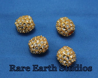 18kt Gold CZ Pave Beads 9mm 60215048