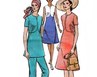 Vogue 8040 Vintage 70s Misses' Dress or Top and Pants Sewing Pattern - Uncut - Size 14 - Bust 36