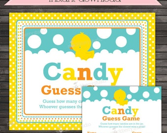 Rubber Ducky Baby Shower Candy Guess Game Printable - Instant Download - Yellow Rubber Duck Baby Shower Games - Neutral Baby Shower Game