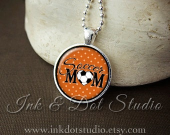 Orange Soccer Mom Necklace, Soccer Mom Pendant, Gift For Soccer Mom, Orange Polka Dot or Choose Color