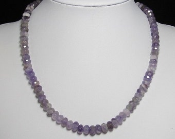 Necklace 20 inch IN Amethyst Rondelle faceted 925 Silver