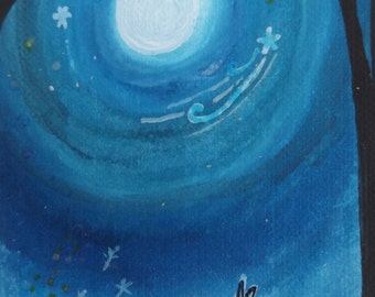 Rabbit and Moonlight. Aceo