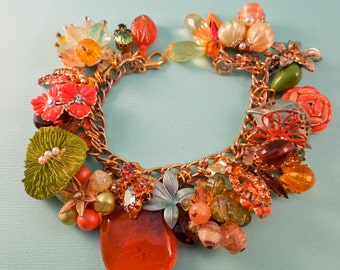Tropicale Repurposed Vintage Jewelry Charm Bracelet One of a Kind