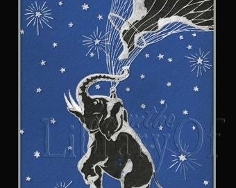 Night Flying - Elephant - Moon - -ADHESIVE Personalized Bookplates -
