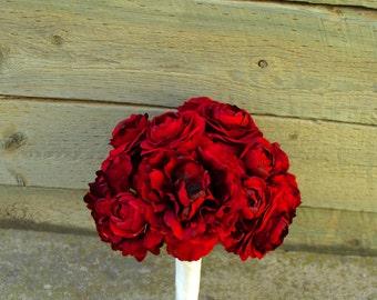 Red Crimson Silk Wedding Bouquet with Peonies, Ranunculus, and Hydrangea