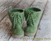Baby Combat Boots, Combrat Booties, Crochet Combat Boots, Military Boots, MADE TO ORDER